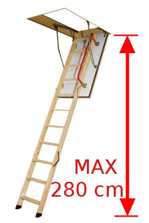 Půdní schody - výška 280 cm