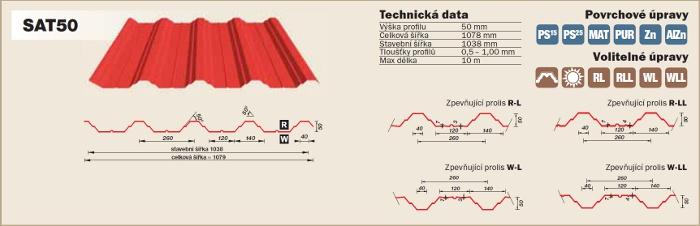 Technické údaje trapézový plech SATJAM SAT 50