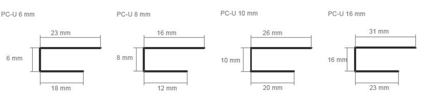 Ukončovací lišta Guttaprofil PC-U