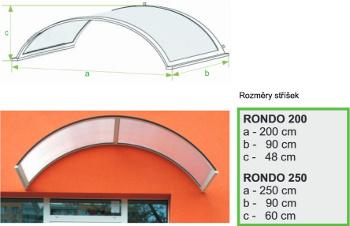 Rozměry vchodové stříšky Rondo velká