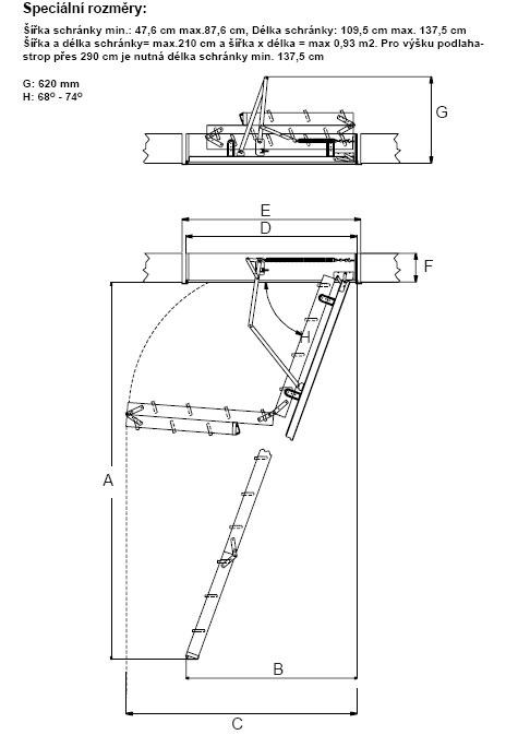 Rozměry - protipožární skládací půdní schody DOLLE F30