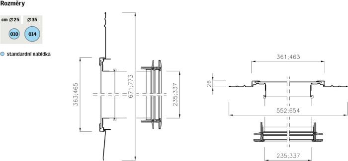 Světlovod VELUX TLR - šikmé střechy - data