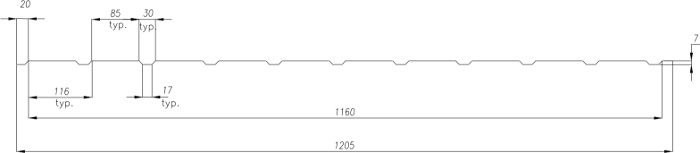 Technická data trapézového plechu T-7