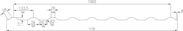 Technická data trapézového plechu T-18