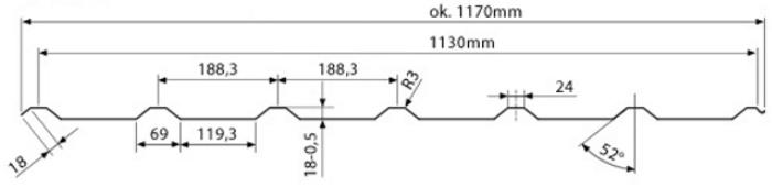 Technická data trapézového plechu T-20