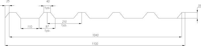 Technická data trapézového plechu T-35