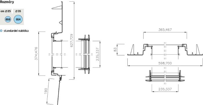 Světlovod VELUX TWR - šikmé střechy - data